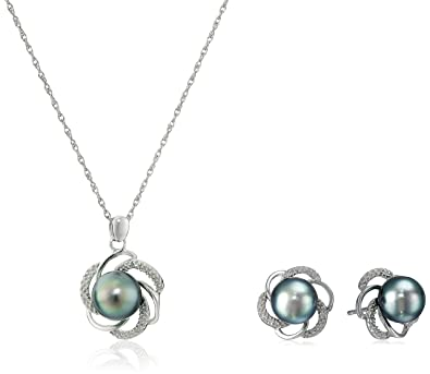 Amazon sterling silver tahitian cultured black pearl and sterling silver tahitian cultured black pearl and diamond pendant necklace and earrings jewelry set aloadofball Gallery