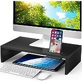 LORYERGO Monitor Stand Riser - 16.5 inch Desktop Riser for Laptop Computer, Monitor Stand Desk Organizer with Phone Holder an
