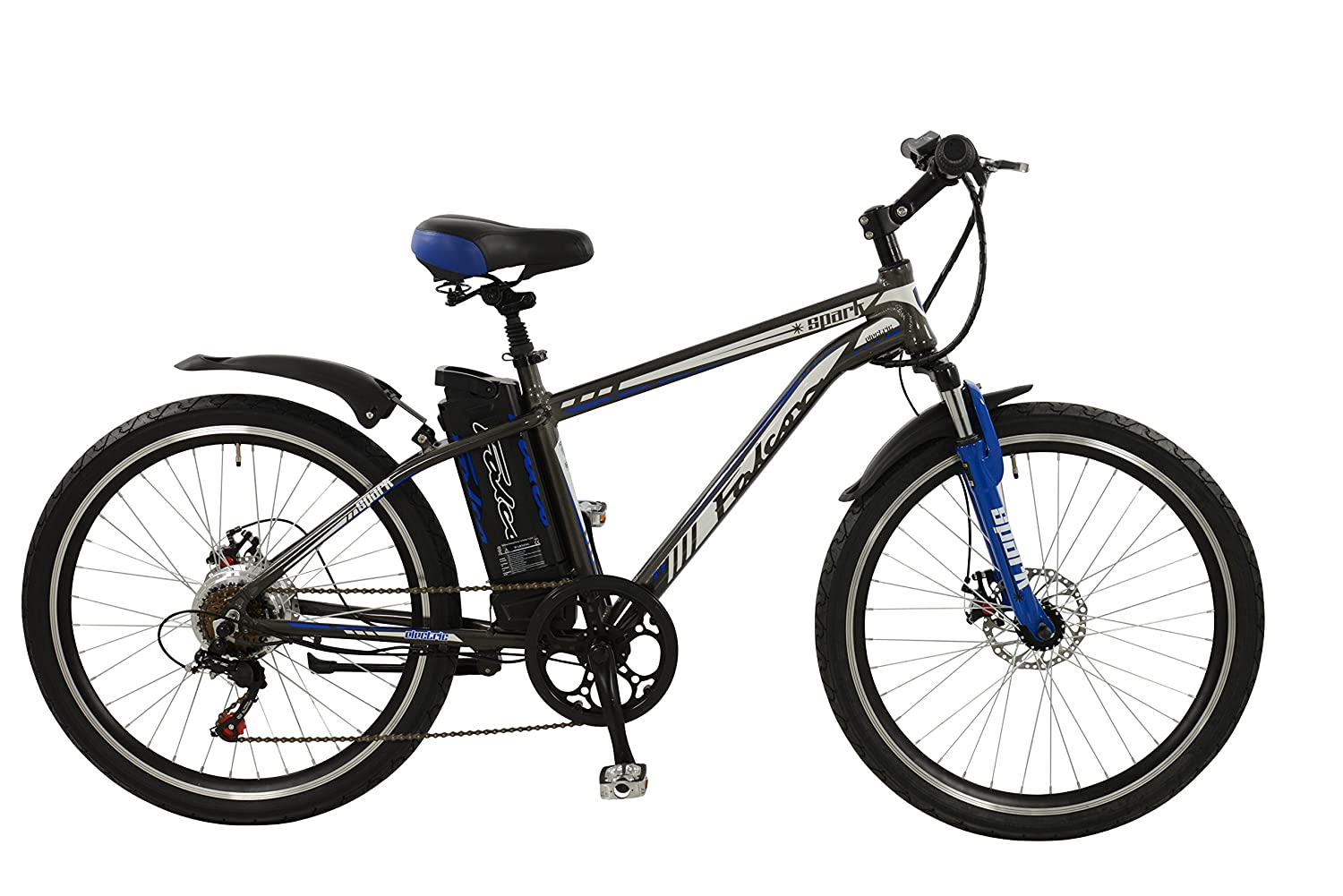 Falcon Spark Mens\' Electric Bike Grey/Blue, 18\
