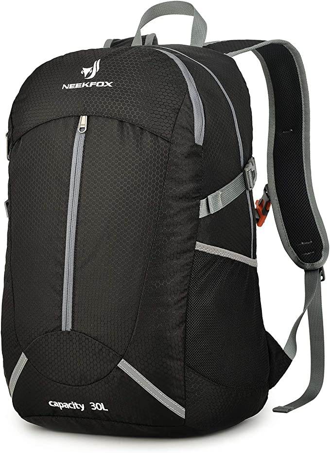 NEEKFOX Mochila de Senderismo Ligera Plegable 30L Viaje Día de Escalada Pack para Hombre Mujer, Peso Ligero Compacta Resistente al Agua Mochila para ...