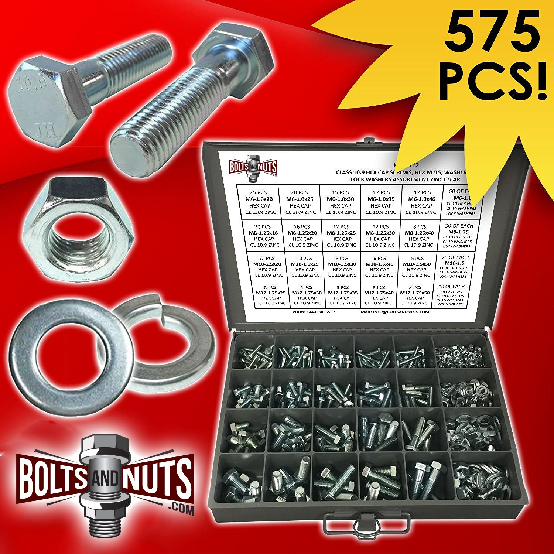 Metric Class 10.9 Hex Cap Screws Bolts, Nuts, & Washers Assortment Kit - 575 Pieces!