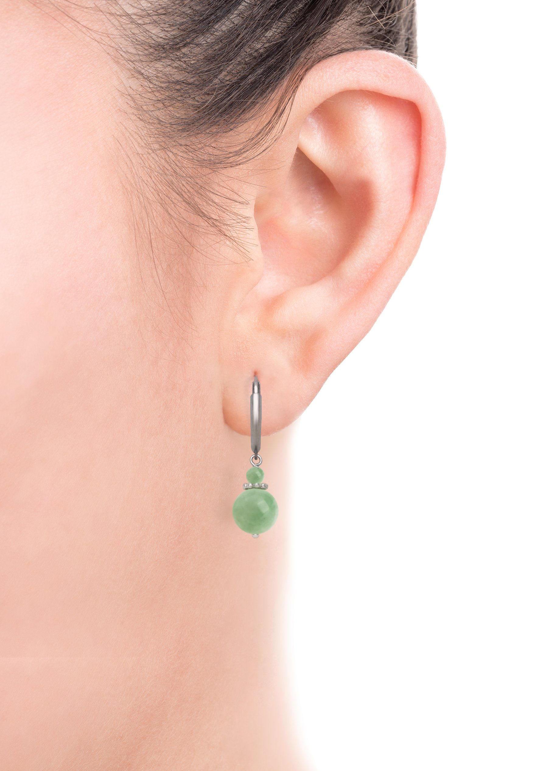 Sterling Silver Natural Green Jade Lever Back Drop Dangle Earrings by Belacqua (Image #2)
