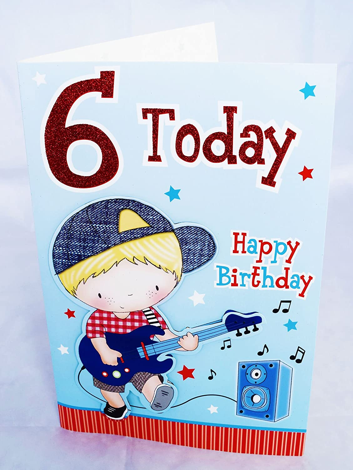 6 Today Happy Birthday Card For Boy Age 6th Kids Cute Large Poem Verse Him Amazoncouk Office Products