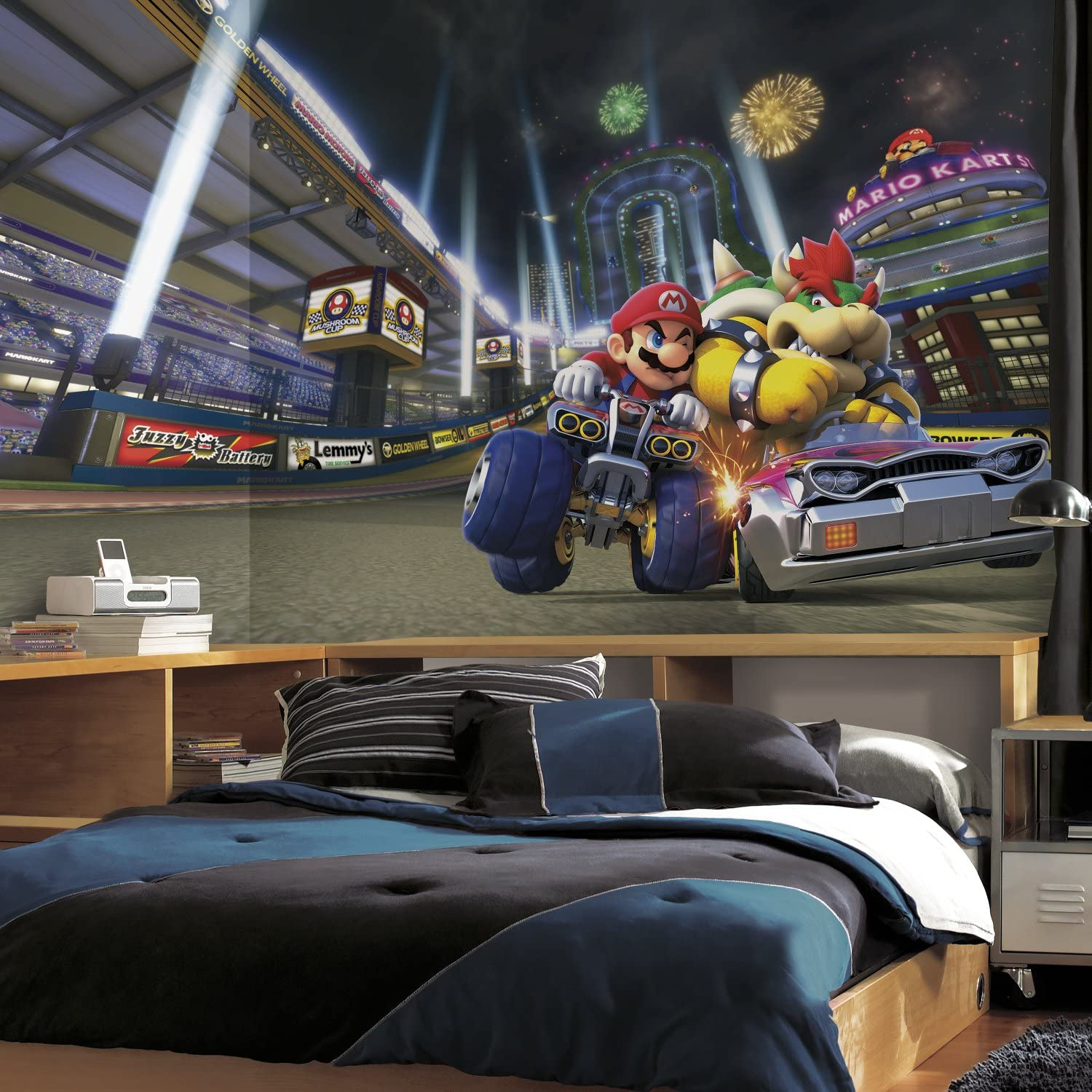 RoomMates Nintendo - Mario Kart 8 Removable Wall Mural - 10.5 feet X 6 feet,Multicolor