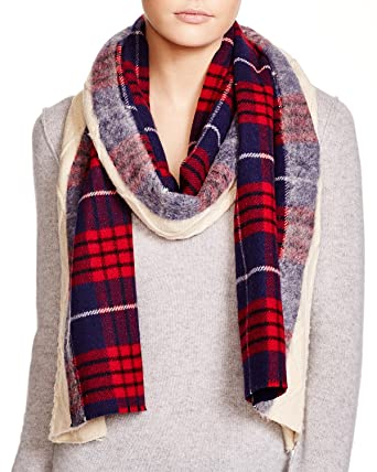 Standard Form Womens 18 X 80 In Wool And Cashmere Plaid Scarf Red