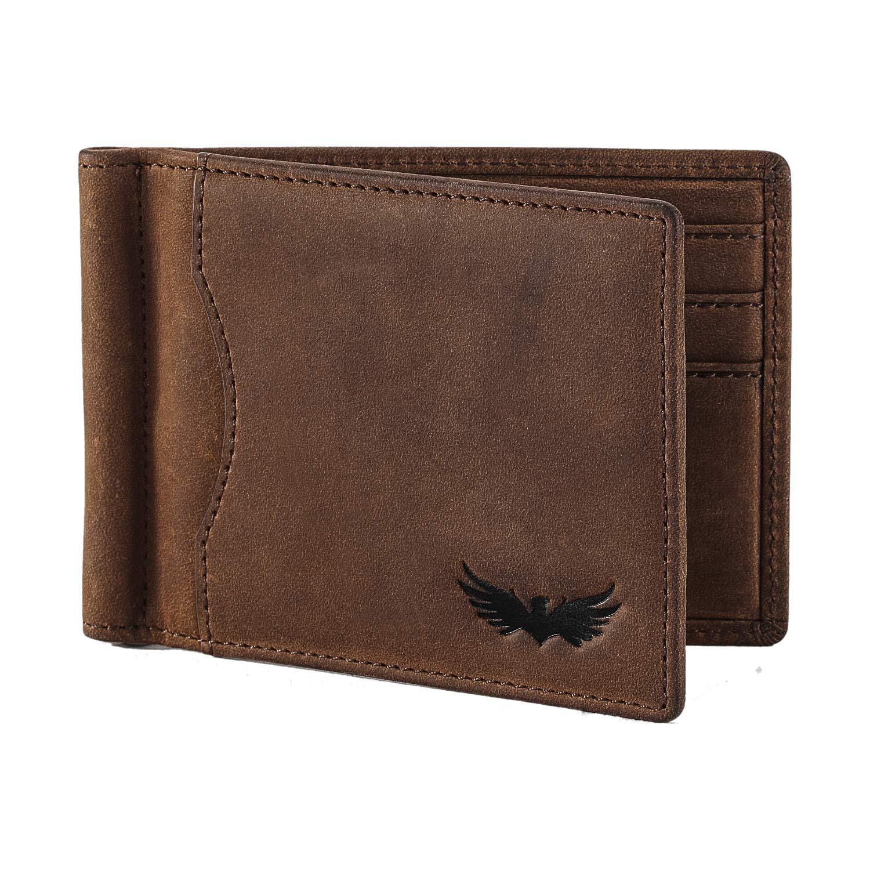 Bolso de hombre de piel de búfalo de SEMLIMIT - incluye monedero y pinza para billetes en piel de primera calidad para hombre - Protección RFID/NFC | Libro ...