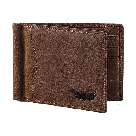 Bolso de hombre de piel de búfalo de SEMLIMIT - incluye monedero y pinza para billetes en piel de primera calidad para hombre - Protección RFID/NFC | ...
