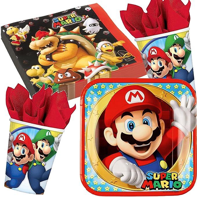 Set de fiesta de 37 piezas * Super Mario Bros * con plato + taza + servilletas + decoración // Set de fiesta de cumpleaños infantil con globos ...