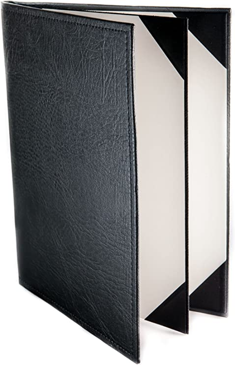 8.5 x 11, Black Classic Faux Leather Menu Covers 10 Pack 2-panel