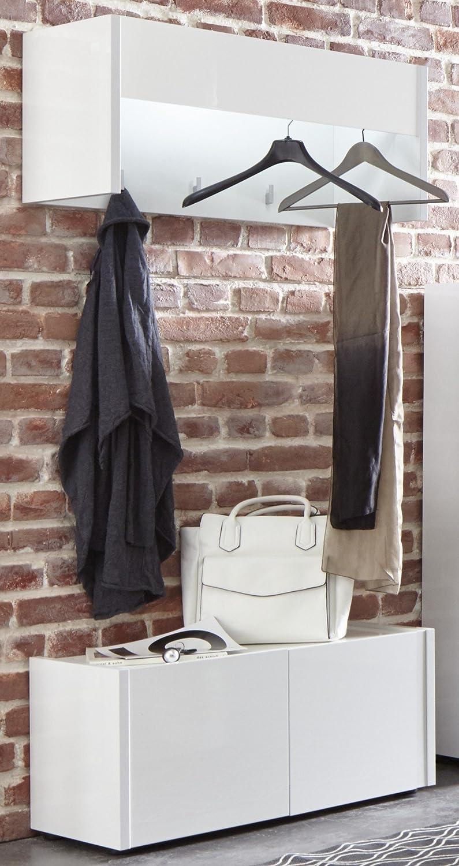 Furnline Hallway Bench Cabinet Imola White High Gloss Wood 81x37x40 cm Home & Kitchen Storage Benches
