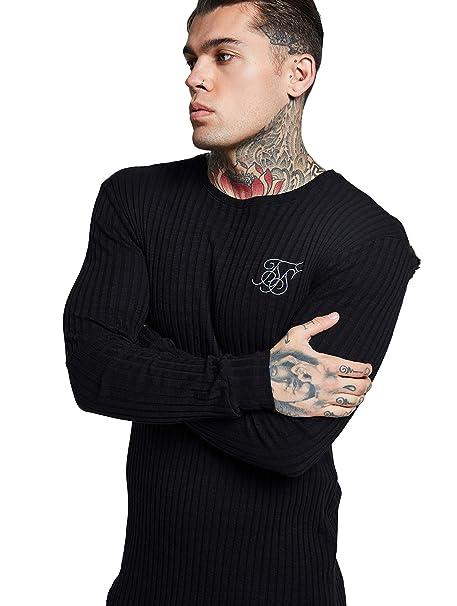 Sik Silk Hombre Rib Knit Longsleeved Gym Camiseta, Negro: Amazon.es: Ropa y accesorios