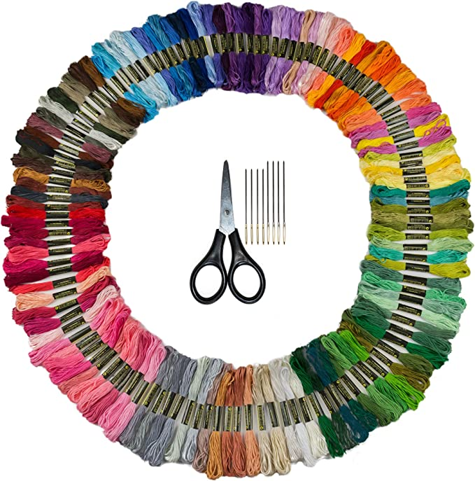 Perfect Embroidery Floss Kit for Beginners DMC Color Card Included Friendship Bracelet String Premium 105 Embroidery Thread Skeins Set of 10 Gold Eye Needles and 1 Threader Included
