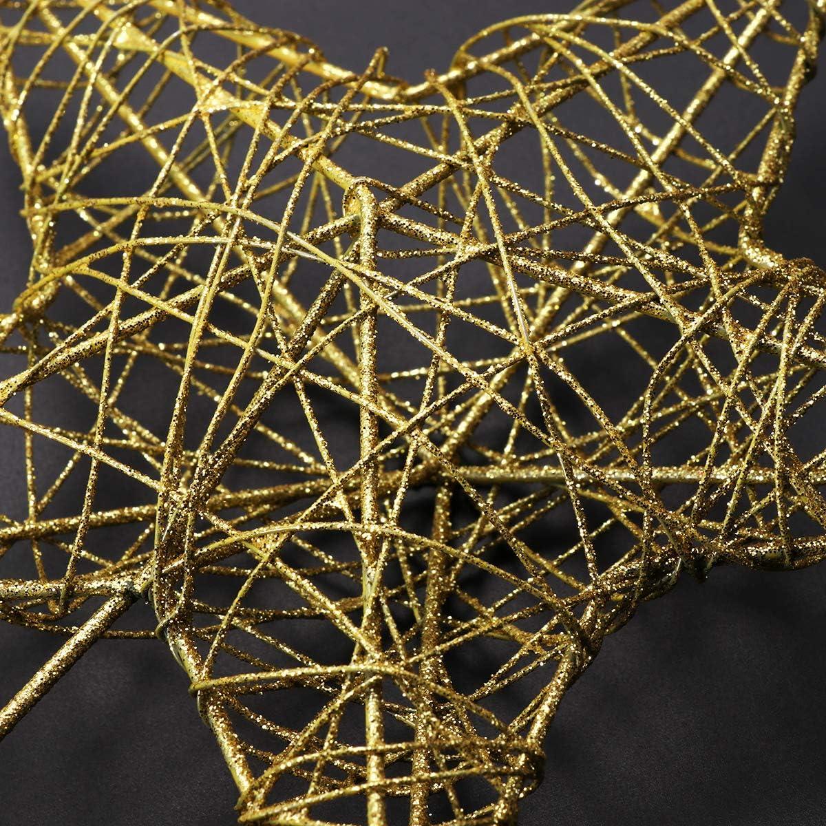 Christmas Star Tree Topper, Gold Glittered Metal Hollow Tree Star himmery Tree Topper for Christmas Tree Decor