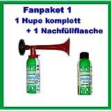1 Marco Drucklftfanfare 1 Marco Nachfüllflasche--kein billiges China Produkt---Hupe Fanfare Tröte Drucklufthupe