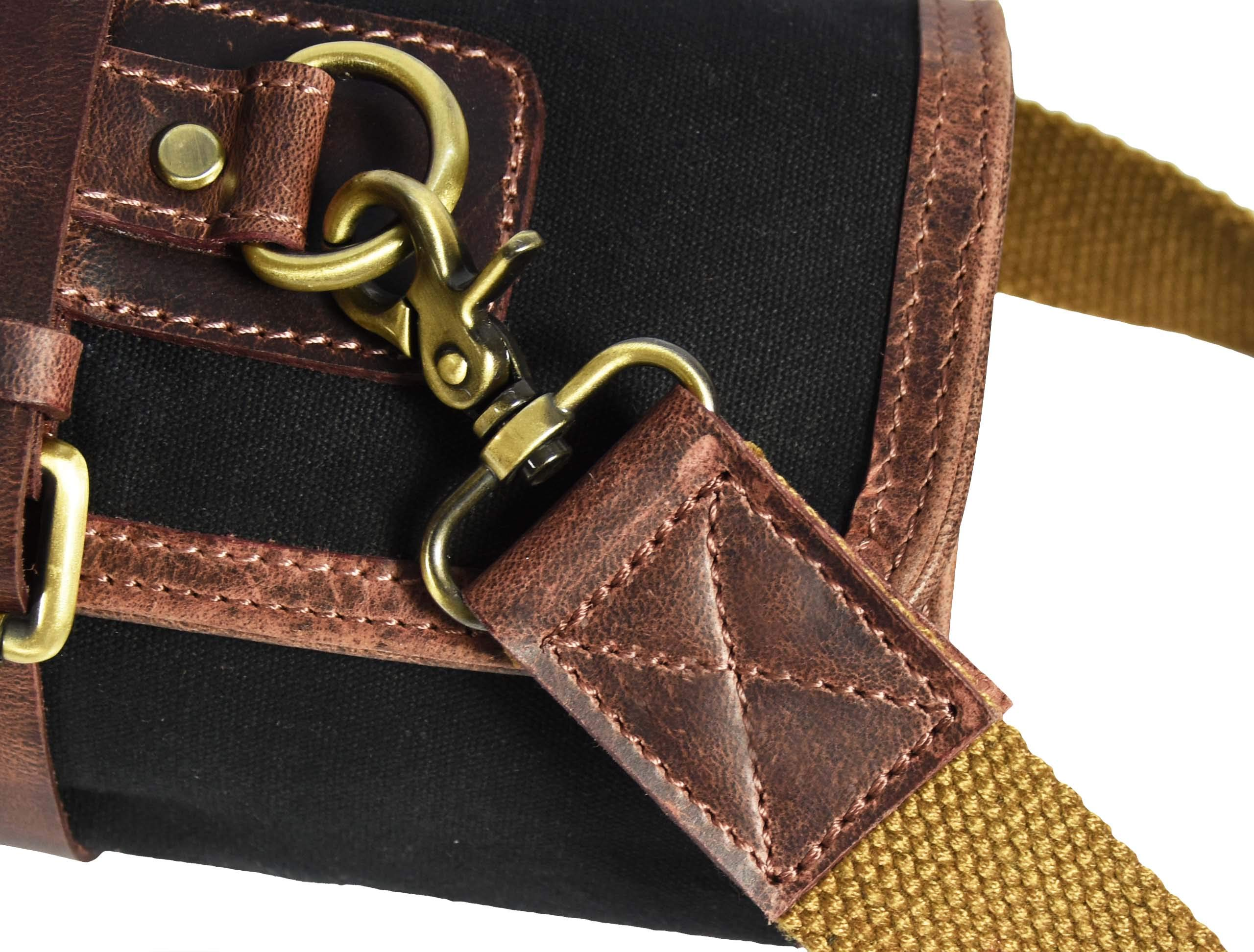 Leather Knife Roll Storage Bag   Elastic and Expandable 10 Pockets   Adjustable/Detachable Shoulder Strap   Travel-Friendly Chef Knife Case Roll By Aaron Leather (Raven, Canvas) by AARON LEATHER GOODS VENDIMIA ESTILO (Image #6)