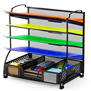 Simple Trending 5-Trays Mesh Desk File Organizer Vertical Document Letter Tray Holder with Drawer Organizer for Office Home, Black