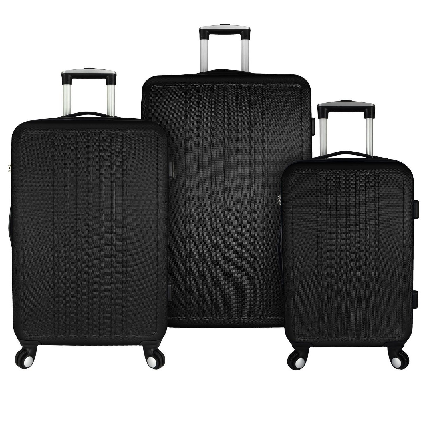 3 Piece Dark Geometric Stripes Motif Spinner Lightweight Expandable Carry On Luggage Set, Graphic Geo Vertical Lines Theme, Fashionable Hardsided Suitcases, Multi Compartment, Hard Travel Bags, Black by S & E