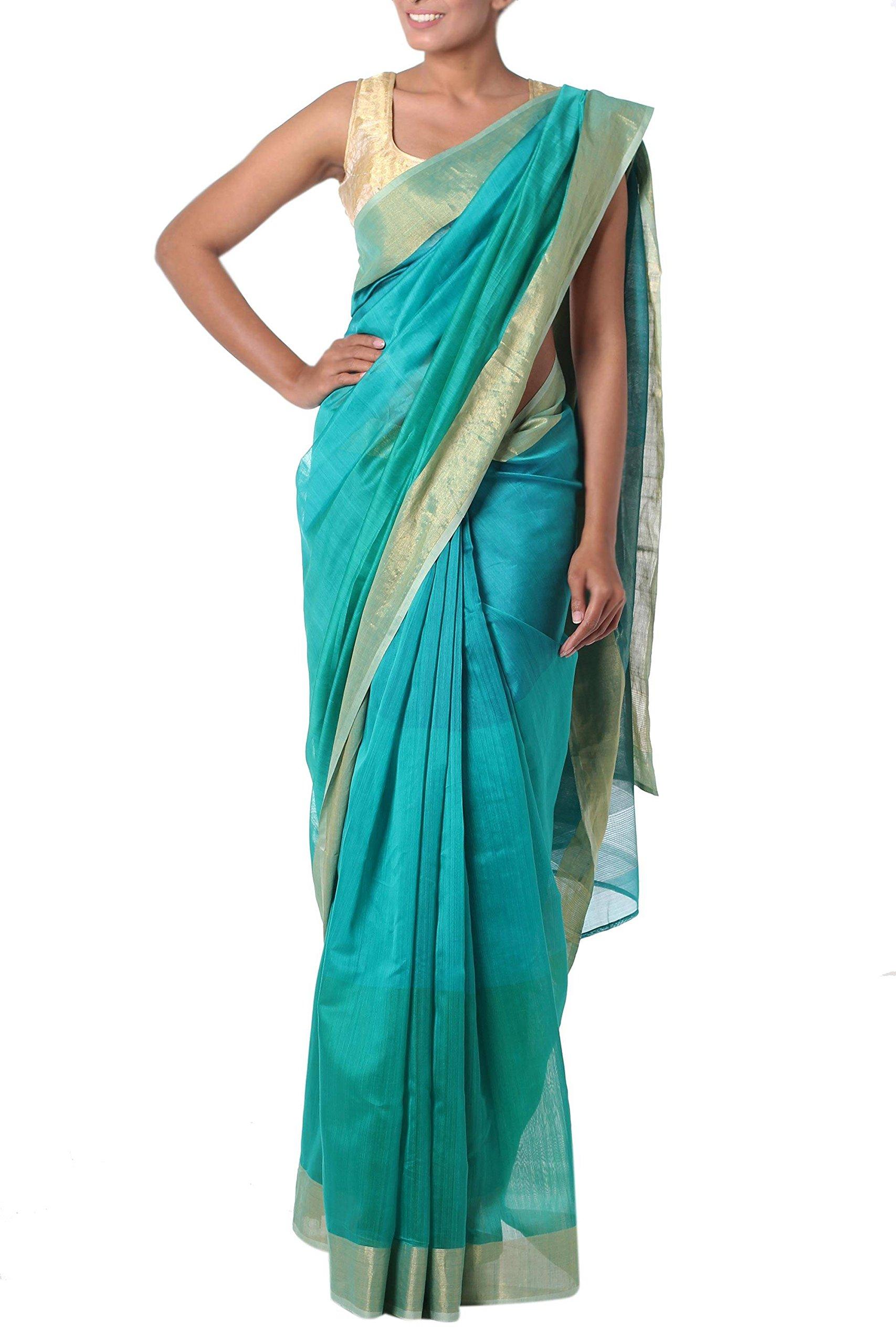 NOVICA Green Cotton and Silk Blend Sari, 'Teal Fantasy'