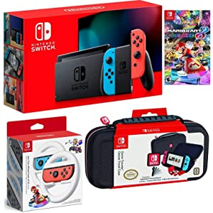 Nintendo Switch Bundle: 32GB Console Red and Blue Joy-Con, Nintendo Switch Wheel (set of 2), Deluxe Travel Case and Mario Kart 8 Deluxe Edition Video Game