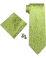 Landisun Various Paisleys Mens Silk Tie Set: Tie+Hanky+Cufflinks
