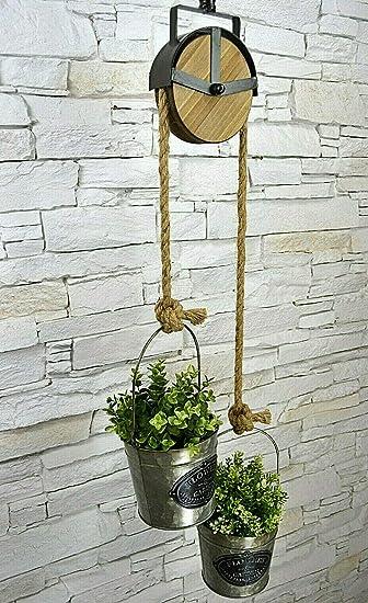 Livitat/® H/ängeaufbewahrung H/ängeampel Blumenampel H/ängepflanzen Flaschenzug Haken Metall Industrie LV5071