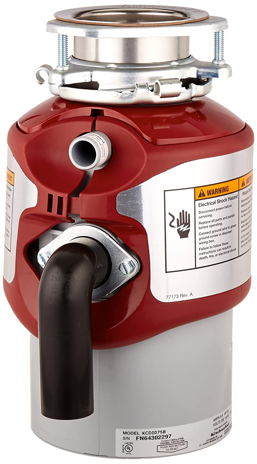 KitchenAid KCDI075B 3 4 hp Continuous Feed Food Waste Disposer, Red