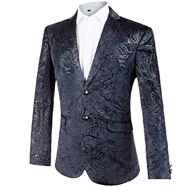 GOMY Chaqueta de algodón para Hombre con Dos Botones impresión Blazer: Amazon.es: Ropa y accesorios