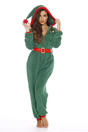 27945485a2 Amazon.com   followme Adult Christmas Onesie for Women Sherpa One-Piece  Pajamas  Clothing