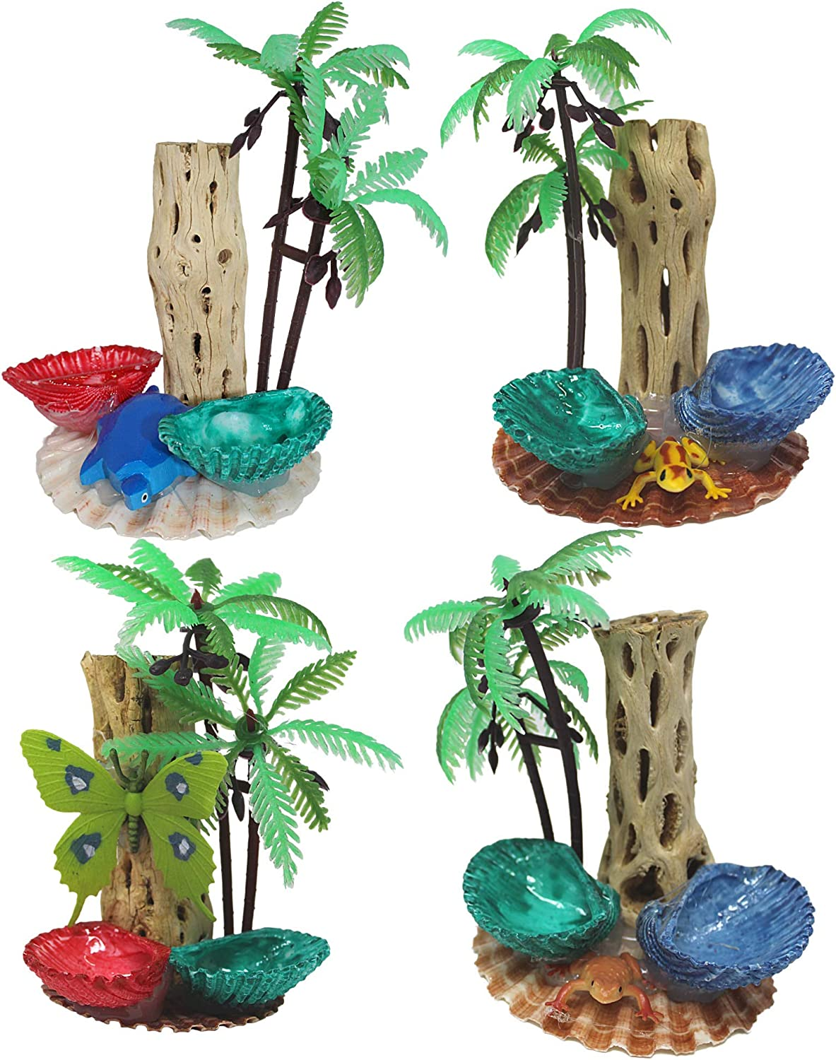 Needzo Hermit Crab Habitat Centerpiece Decoration with Palm Trees, Food and Water Shells, Bulk Reptile Tank Accessory, Pack of 4