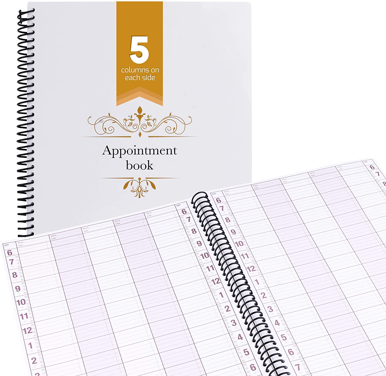 Appointment Book Undated Schedule Reservation – 5 Columns 200 Page Appt Book Organizer with Pen Holder - Hourly Weekly Planner Daily Scheduler for Salon Hairdresser Restaurant Spa Stylist (5 Columns)