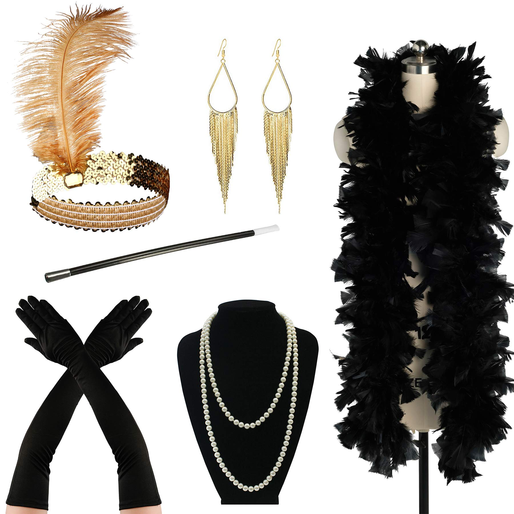 Zivyes 1920s Accessories Flapper Costume for Women Headpiece Cigarette Necklace Gloves (8A)