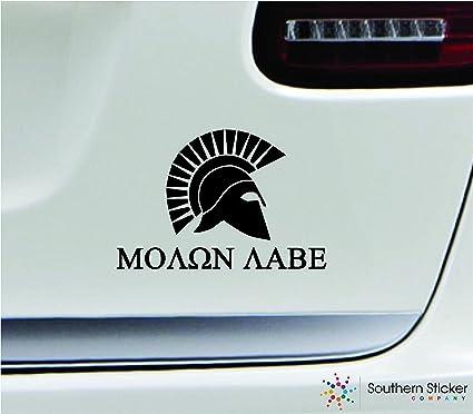 Amazon com: Molon labe spartan helmet 3 9x5 8 black greek