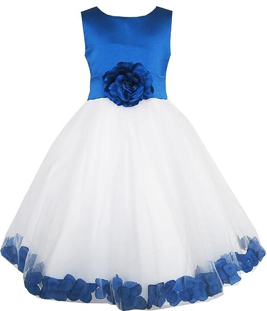 brand new daab4 f79e3 Vestito Bambina Blu Fiore Tulle Matrimonio Pageant Damigella ...