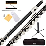 Mendini Black Closed Hole C Flute with Stand, 1