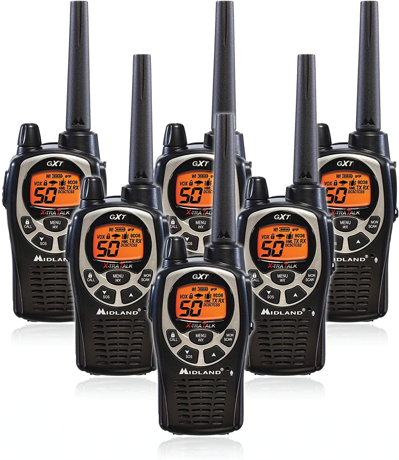 Midland GXT1000VP4 50 Channel GMRS Two-Way Radio - Up to 36 Mile Range Walkie Talkie - Black/Silver (Pack of 6)