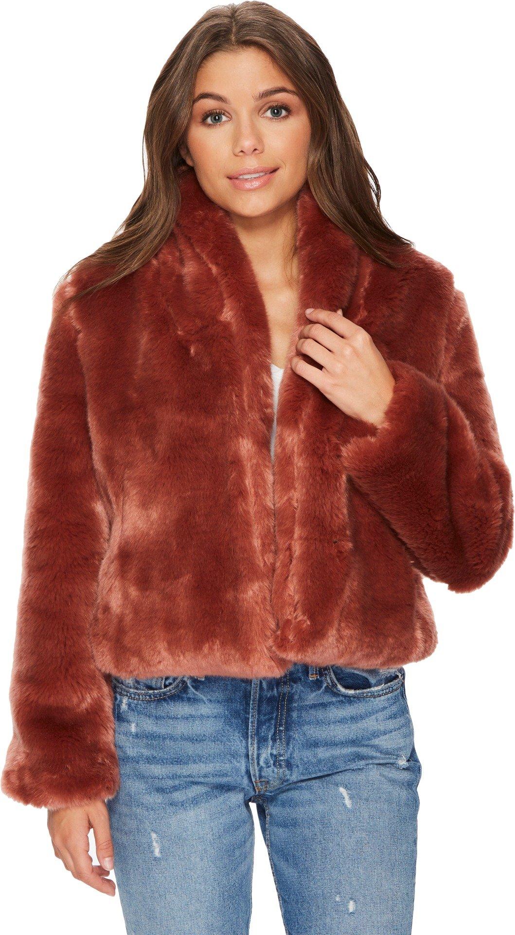 Obey Women's Lana Fur Coat Sangria X-Small