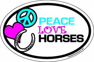 Imagine This 4-Inch by 6-Inch Car Magnet Oval, Peace Love Horses