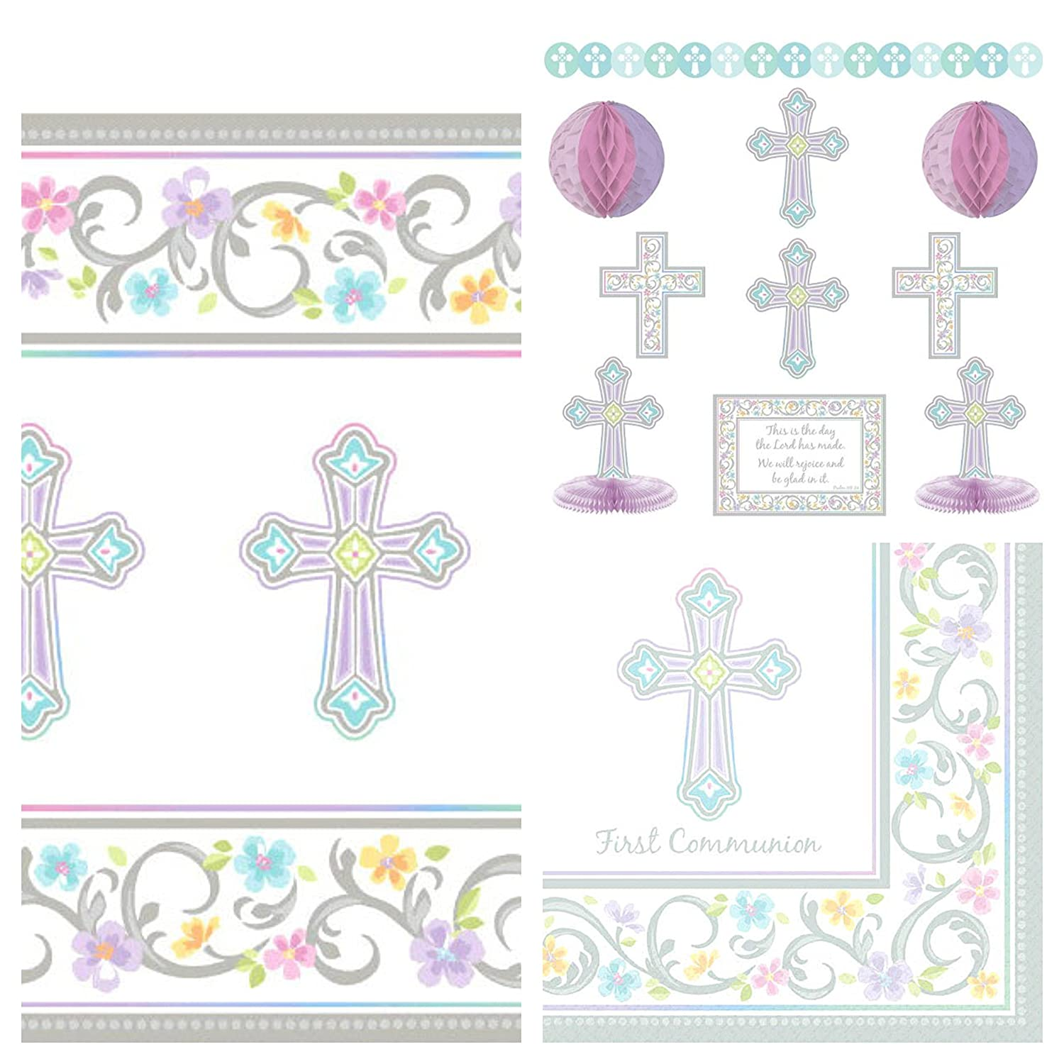 Amazon Com First Communion Party Decorations Tablecloth