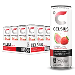 CELSIUS Sparkling Strawberry Guava Fitness Drink, Zero Sugar, 12oz. Slim Can (Pack of 12)
