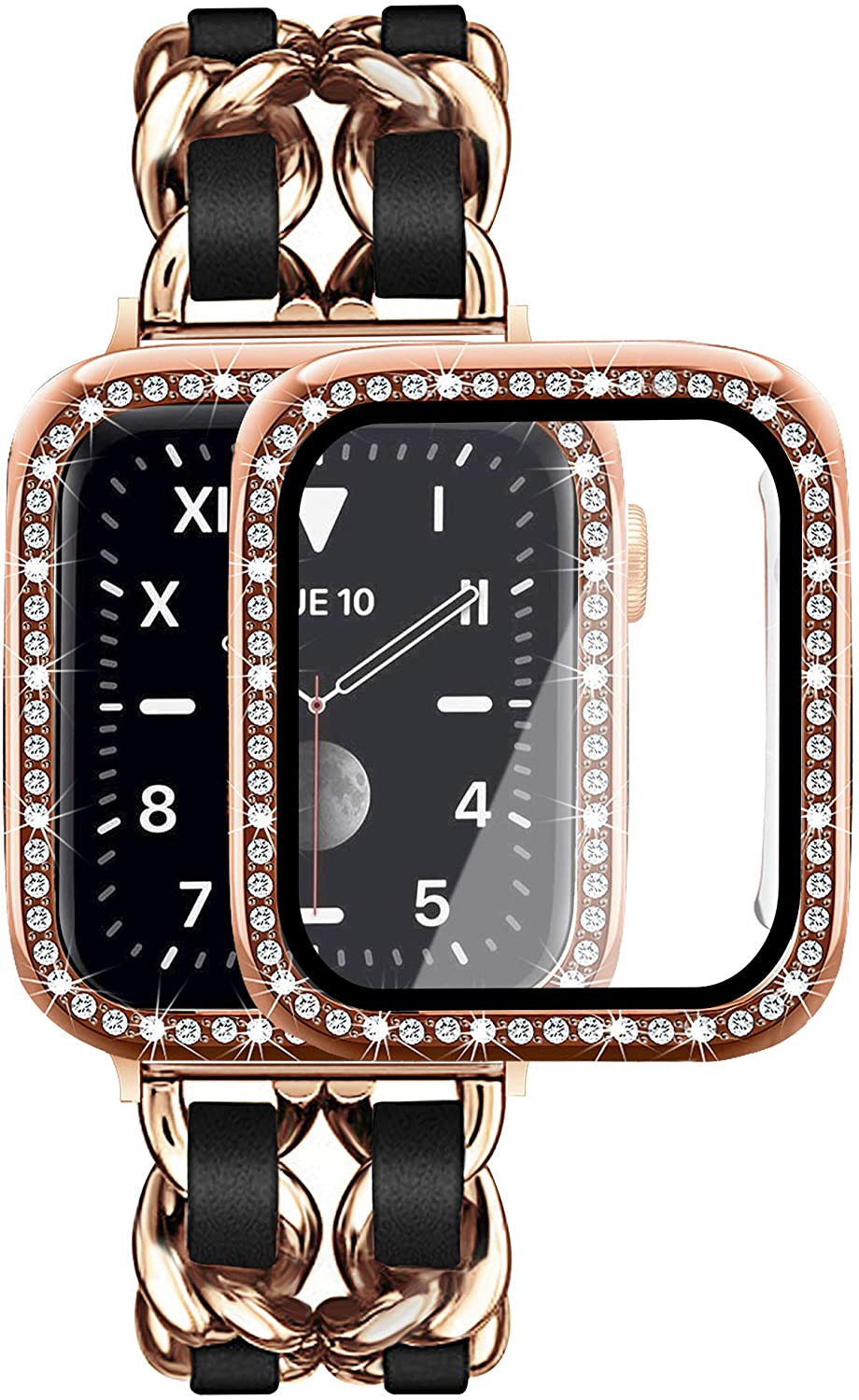 Mosonio Compatible for Apple Watch Band 38mm 40mm 42mm 44mm with Screen Protector Case Women, Jewelry Bracelet Metal Strap with 2-Pack Bling Case Cover for iWatch Series 6 5 4 3 2 1