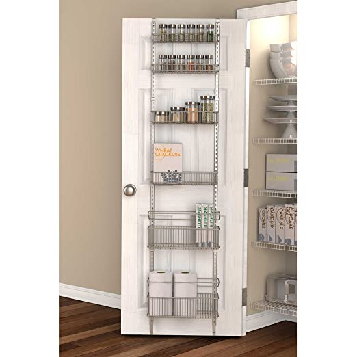 Premium Over-the-Door Steel Frame Kitchen, Pantry, and Bath/Room Organizer in Satin Nickel, Adjustable Shelf System Made of Solid Steel, Hung or Door ...