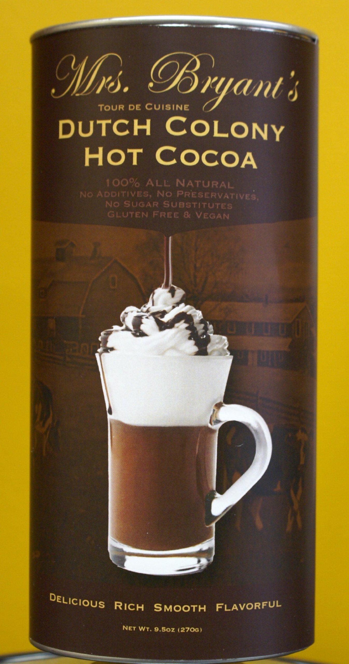 Mrs. Bryant's Dutch Colony Hot Cocoa-2 Pack ( 9.5 oz per Tin ) All Natural,  Vegan, Gluten- Free, Kosher  Hot Chocolate Mix