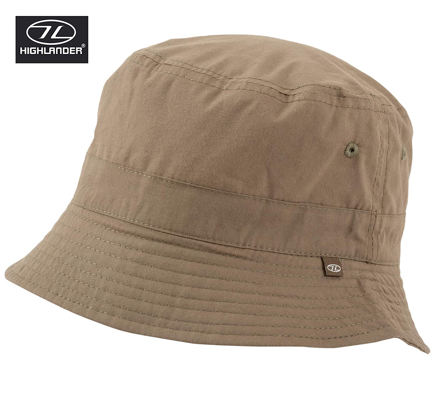 XL Small - 57cm Highlander Mens Ladies Unisex Festival Outdoor Bucket Fishing Travel Sun Hat Stone Colour Small