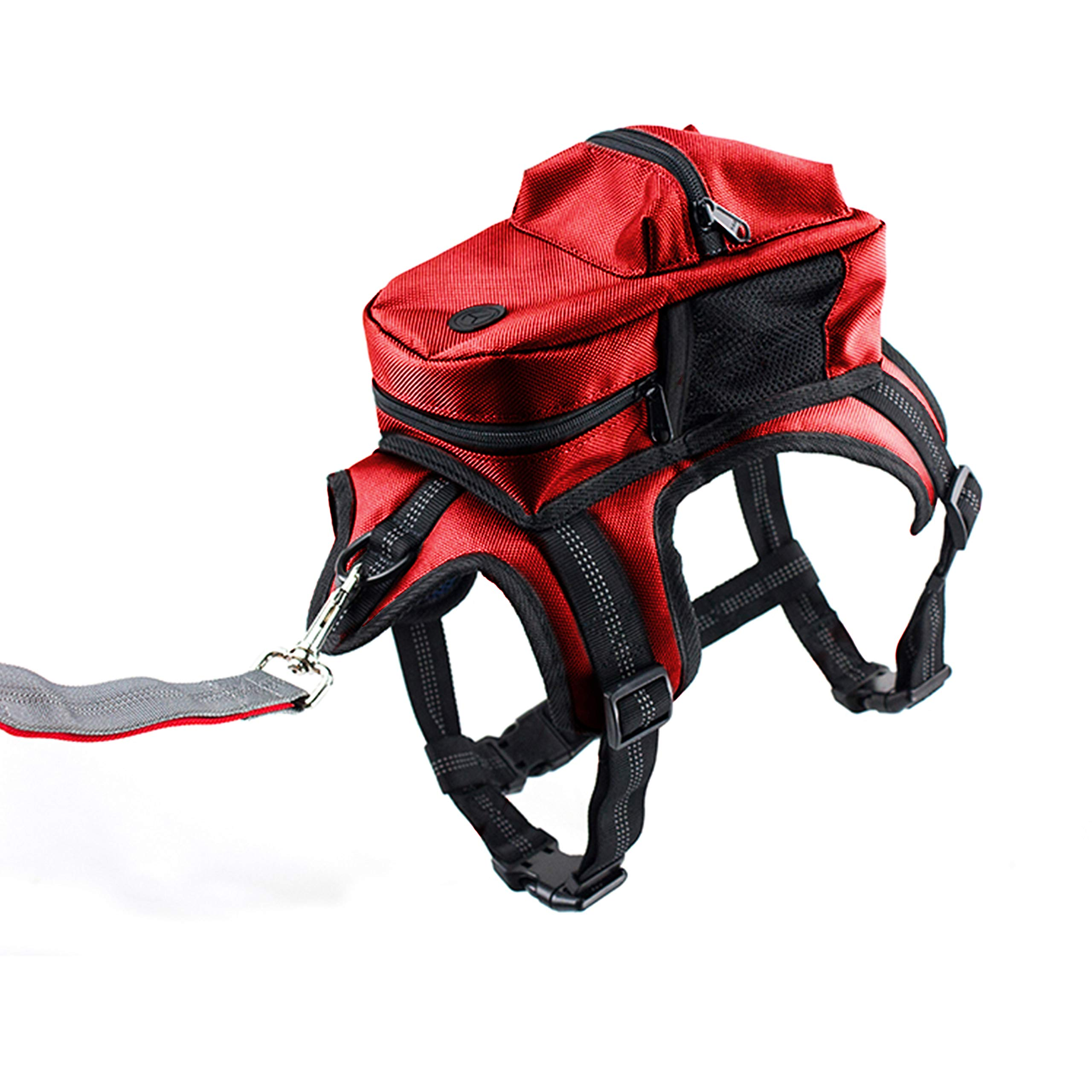 Kaynine Dog Backpack for Travel Camping Hiking. (Medium, Red)