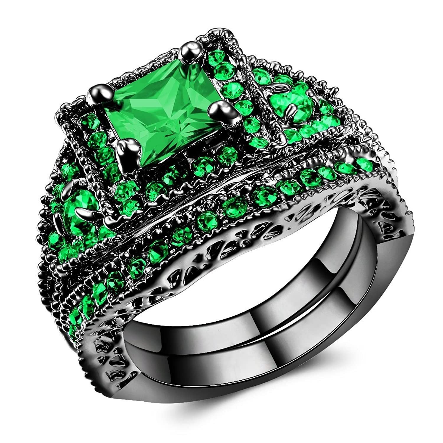 with enamel rings ring band and stone wedding made handmade custommade green product to order lantern