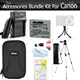 Essential Accessories Bundle Kit For Canon PowerShot ELPH 330 HS, ELPH 100 HS , ELPH 300 HS, ELPH 310 HS Digital Camera Includes 50 Inch Tripod + Extended (900 maH) Replacement Canon NB-4L Battery + AC/DC Charger + Hard Case + Screen Protectors + More