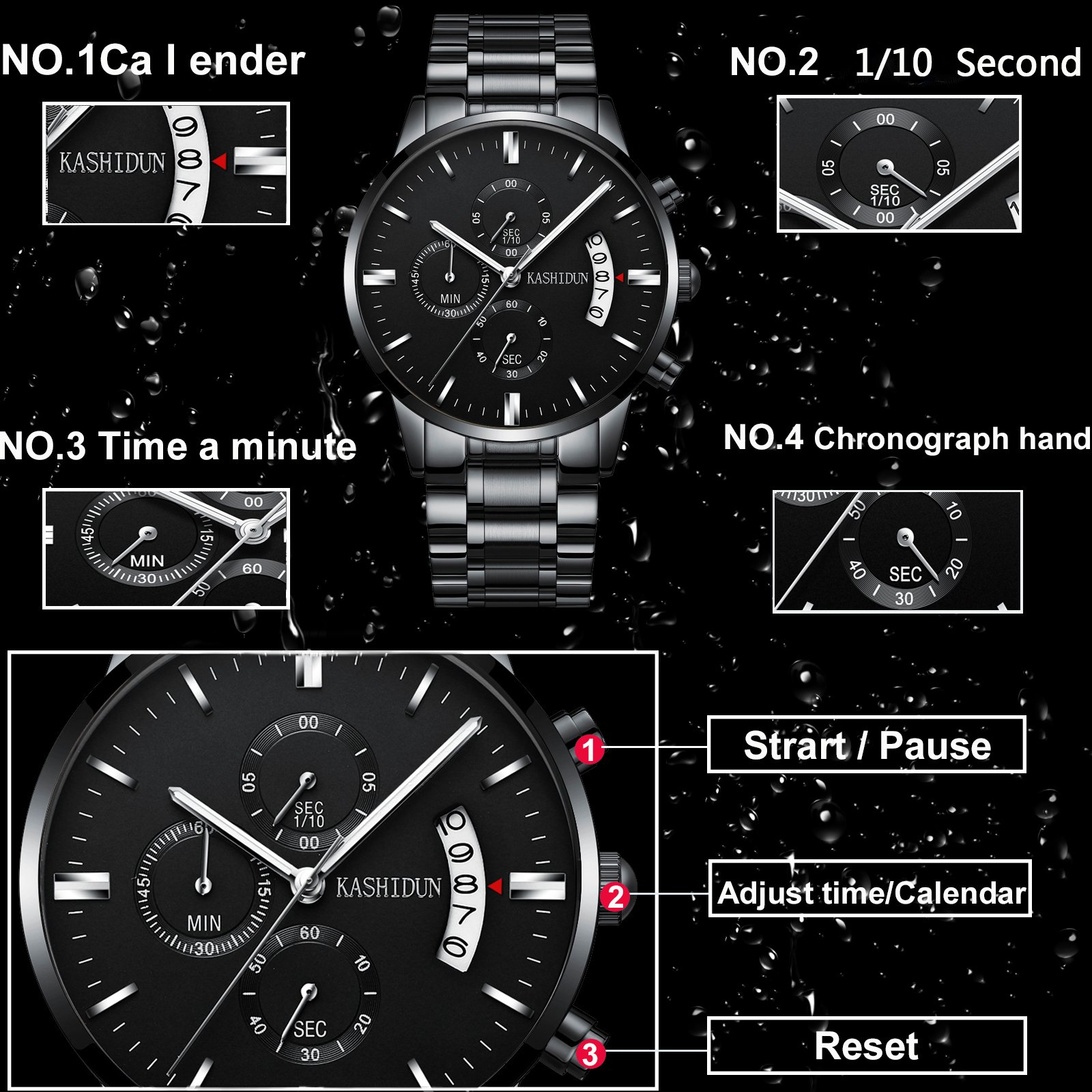 Mens Stainless Steel Watches Men Chronograph Waterproof Sport Date Quartz Wristwatch Classic Watch Black Color by KASHIDUN (Image #6)