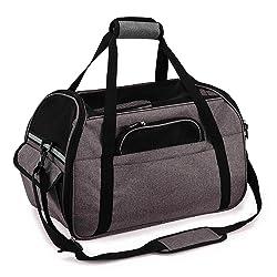 Sac de Transport pour Chat Chien Sac Portable Respirant pour Petits Animaux Transporteur Souple Léger pour Voyage en Voiture Train Avion (L-48x25x33cm, Gris)