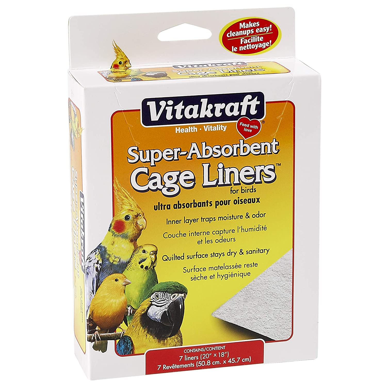 """Vitakraft 512071 7-Pack Super Absorbent Cage Liners for Birds, 20"""" X 18"""""""