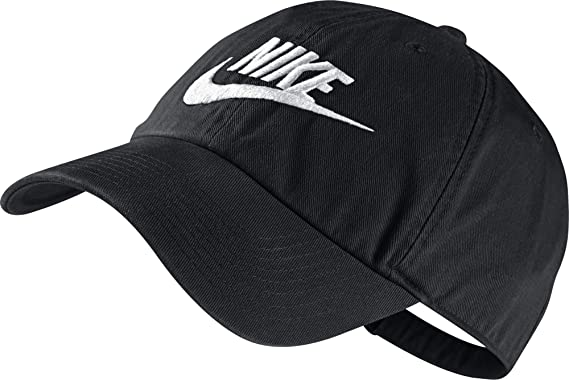 51a939c3 Nike Heritage 86 Futura Cap - Black/Black/White, One Size: Amazon.co ...